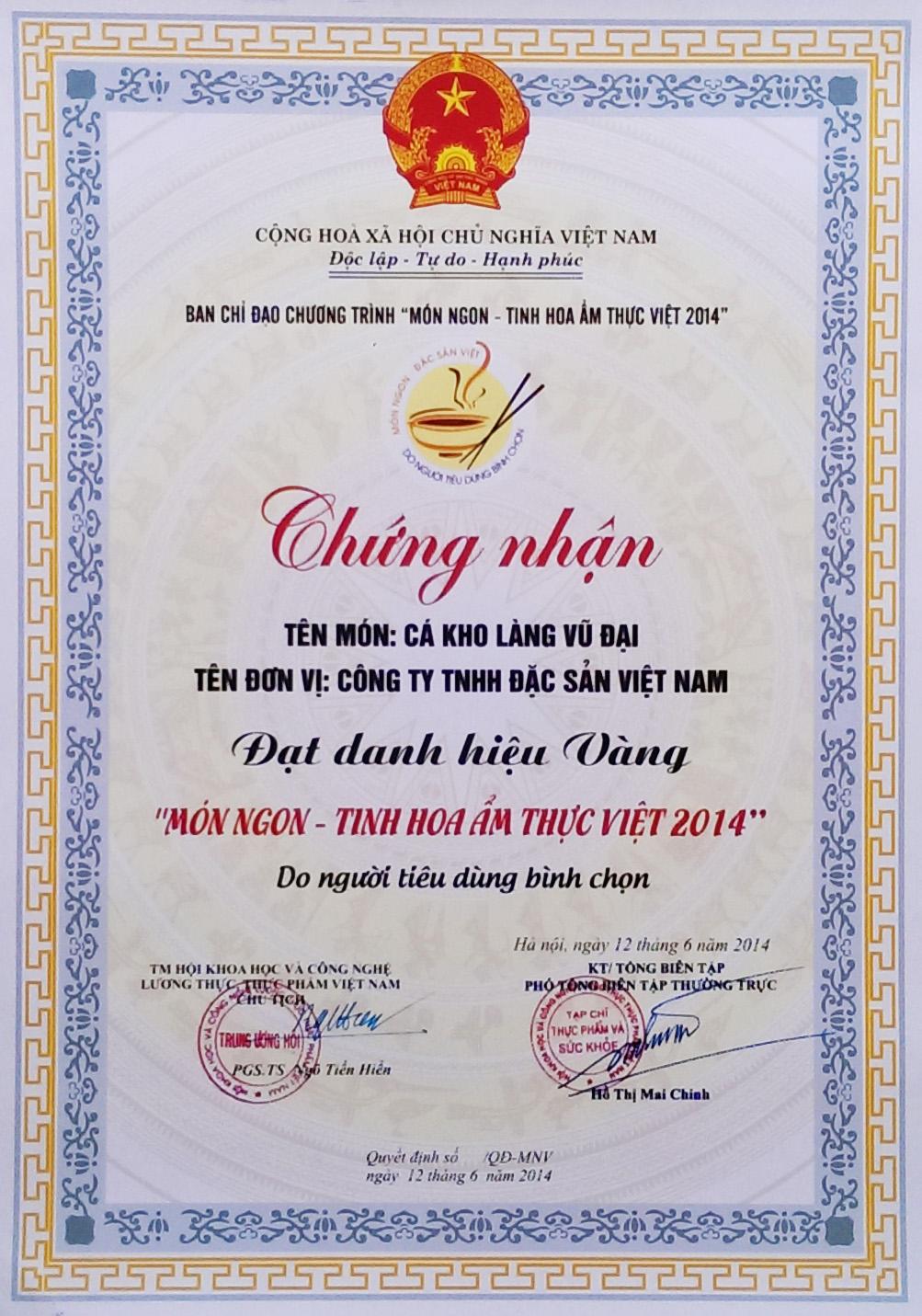 Chứng nhận danh hiệu Vàng – Món ngon tinh hoa ẩm thực Việt 2014